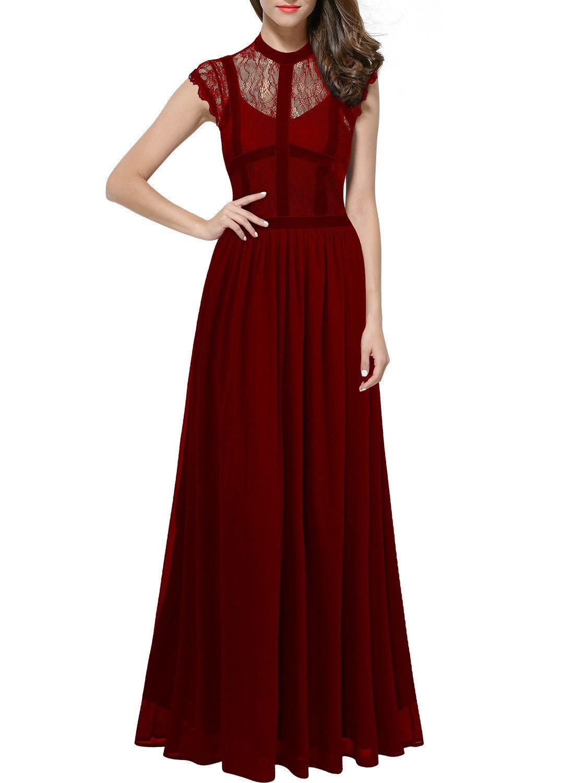 ThaliaDress Long Lace Sheer Neck Retro Royal Style Formal Evening Dress T286LF Burgundy US12