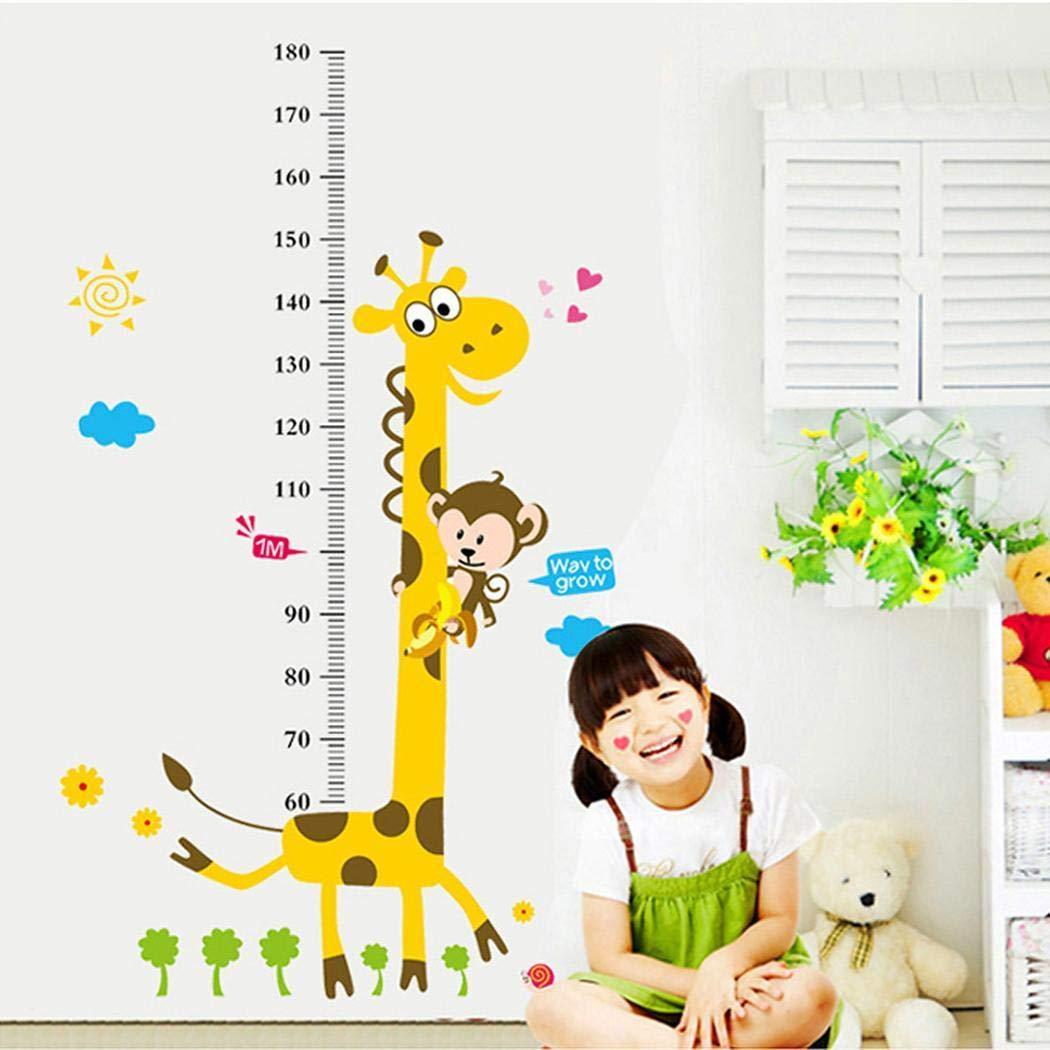 Acecoree Removable Cartoon Giraffe Animal Pattern PVC Height Chart Sticker Wall Decals