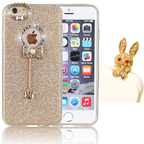 Apple iPhone 5 5s SE Case,Vandot Luxury Diamond Bling Crystal Rhinestone Soft TPU Silicone Rubber Hybrid Case Cover Sparkly Bow Pendent Charms Pattern Ultra Slim Thin Perfect Fit Protective Skin Shell+Glitter Rabbit Anti Dust Plug -Gold