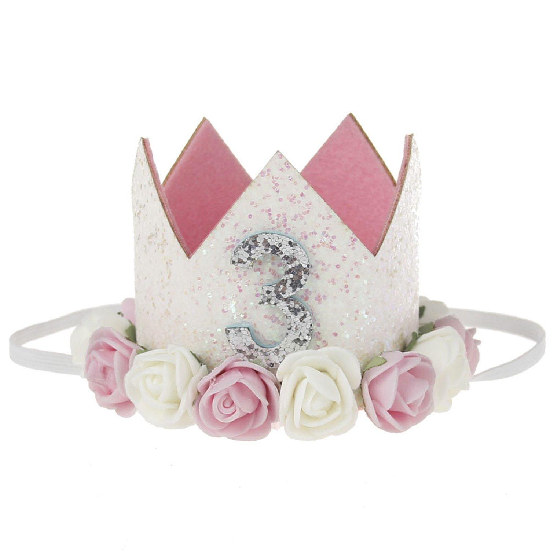 COUXILY 1 Stk Geburtstag - krone Stirnbänder Baby Birthday Tiara Mädchen Glänzend Krone Geschenksets Haarband (CG02)
