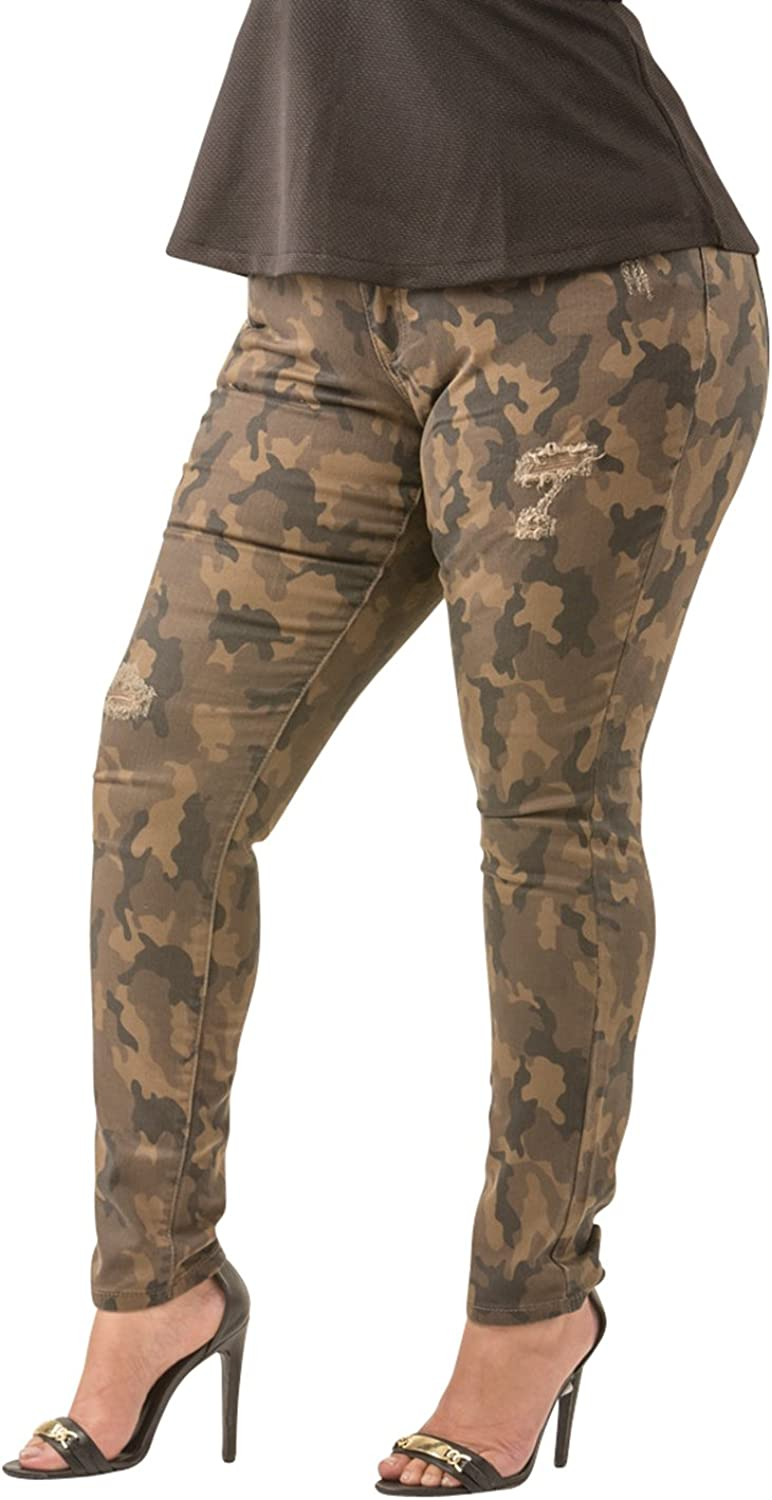 Poetic Justice Plus Size Tall Women's Curvy Fit Camo Destroyed Skinny Jeans