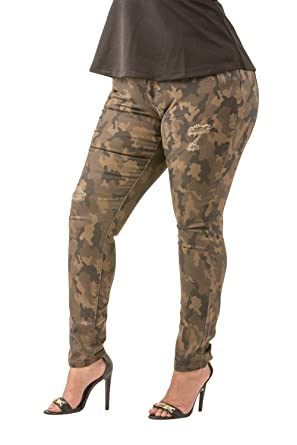 248f9a0008bfb Poetic Justice Plus Size Women s Curvy Fit Camo Stretch Twill Destroyed  Jeans Size 20 x 32Plus