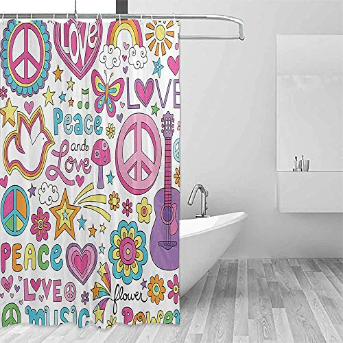 Homrkey Flower Shower Curtain 1960s Decorations Collection Sunlights Sunny Floral Birds Guitar Flower Power Stars Quotes Peace Love Image Colorful Shower Curtains W79 xL72 Pink Yellow Blue