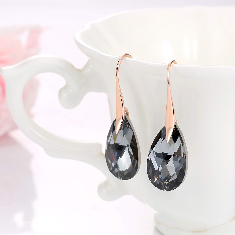 f24f7f6dd Amazon.com: Black Crystal Earrings For Women, Ladies Friends Rose Gold  Plated Hypoallergenic Drop Earring Jewelry: Jewelry