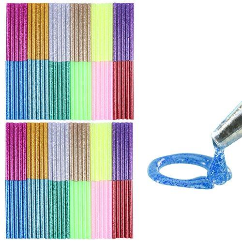 COCODE 12 Colors 120Pcs Hot Glue Gun Sticks 7mm by 10cm Hot Melt Glue Sticks Mini Glitter for DIY Art Craft Woodworking