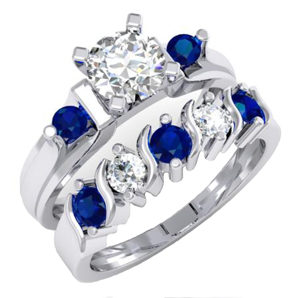 1.85 Carat (ctw) 14K White Gold Blue & White Sapphire 3 Stone Bridal Engagement Ring Set (Size 8)