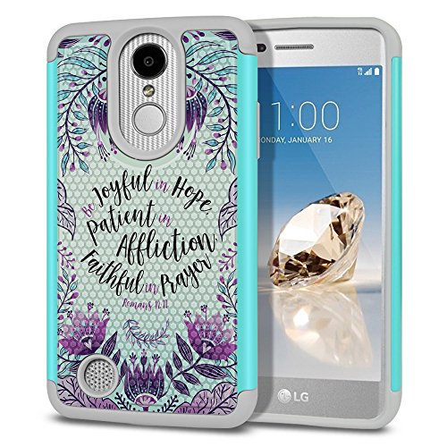FINCIBO Case Compatible with LG Aristo MS210 LV3 K8 2017 Phoenix 3 M150, Football Skin Hybrid Protector Case Cover TPU for LG Aristo MS210 (NOT FIT K8 2016) - Romans 12:12 Be Joyful in Hope (Purple)