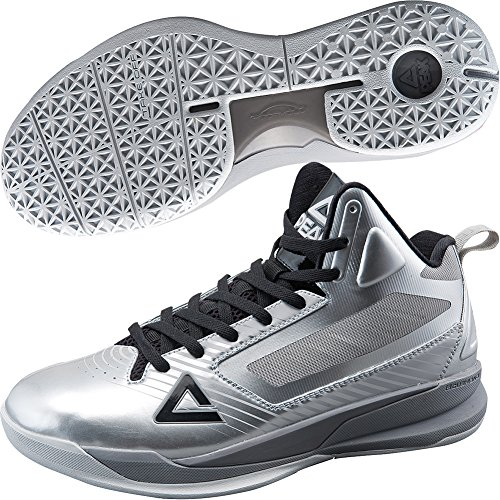 PEAK Mens FIBA Series EAGLE Basketball Shoes Silver 3gOOlT3ZYM