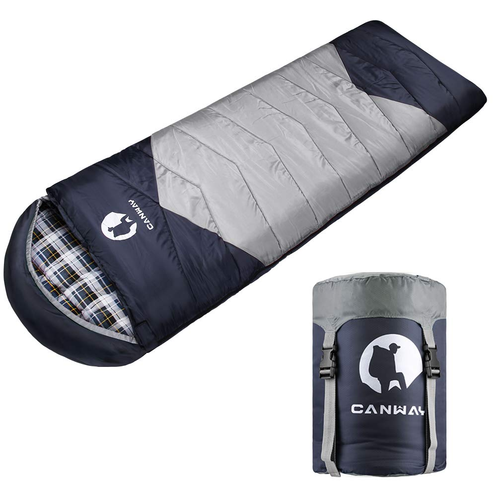 CANWAY Sleeping Bag with Compression Sack, Lightweight and Waterproof for Warm & Cold Weather, Comfort for 4 Seasons Camping/Traveling/Hiking/Backpacking, Adults & Kids (z-Gray-Flannel) by CANWAY