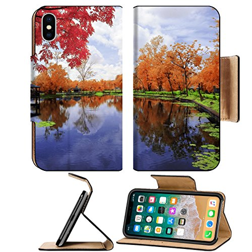 Liili Premium Apple iPhone X Flip Pu Leather Wallet Case IMAGE ID: 23074826 Landscape of a garden by the lakeside in - Lakeside Free Shipping