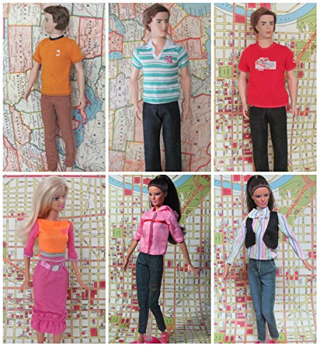 HelloJoy Lot 3 barbie +3 ken doll clothes- Fashion Casual Wear Clothes/outfit for barbie dolls -