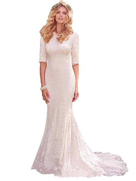 Isabelwedding Womens Half Sleeve Modest Lace Applique Mermaid Wedding Dress White US2