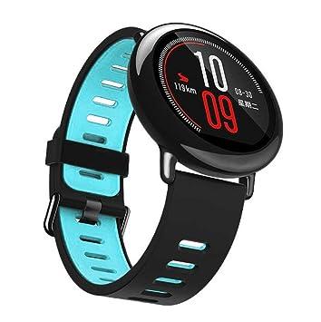 Correa de repuesto para reloj inteligente Xiaomi Huami Amazfit, Y56, 22 cm, silicona, colores contrastantes, azul: Amazon.es: Deportes y aire libre