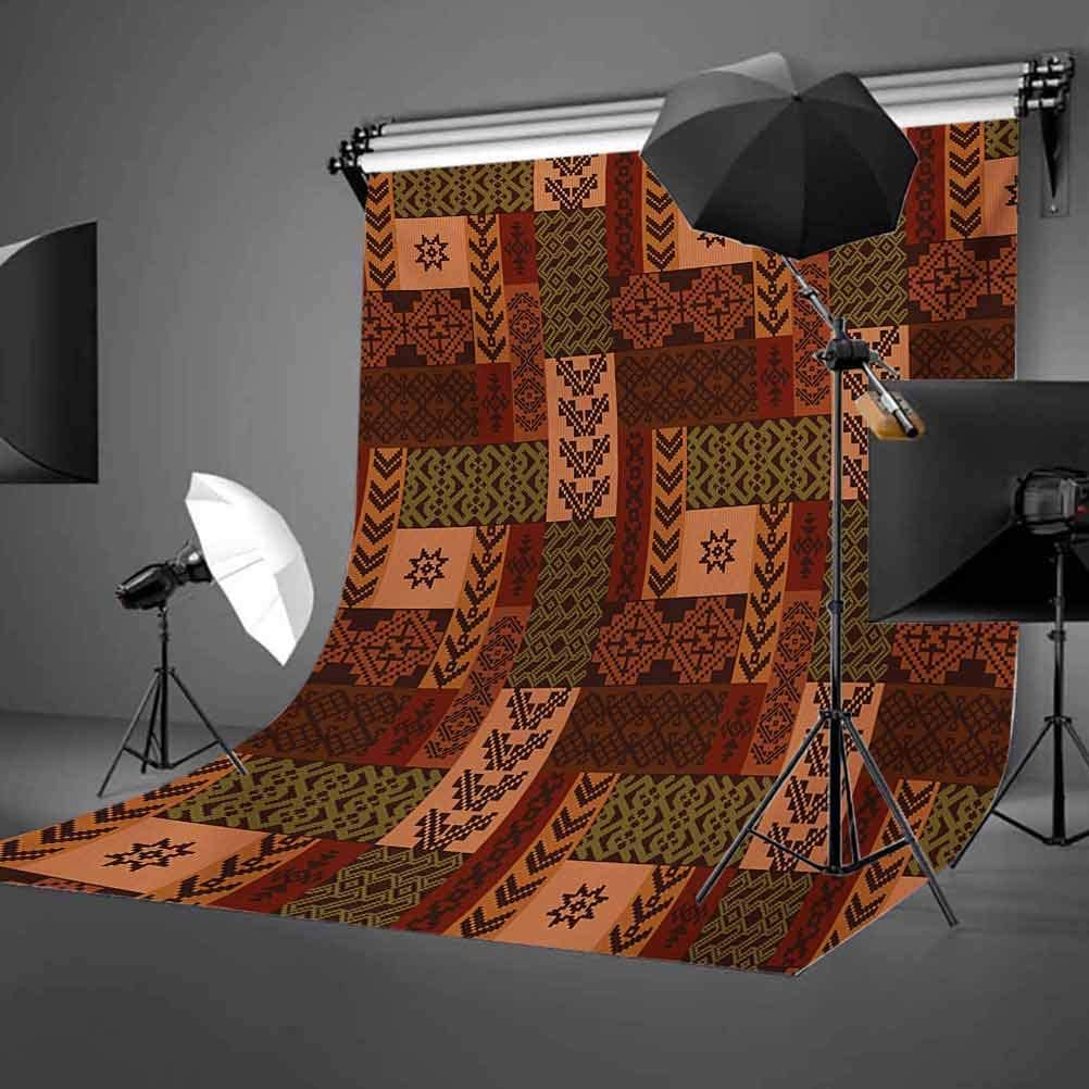 Style Geometric Folk Design Geometric Floral Motifs Print Background for Baby Shower Bridal Wedding Studio Photography Pictures Pink Green and Brown Native American 10x15 FT Photography Backdrop