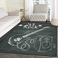Guitar Rugs for Bedroom Love The Rock Music Themed Sketch Art Sound Box and Text on Chalkboard Circle Rugs for Living Room 4x5 Charcoal Grey White