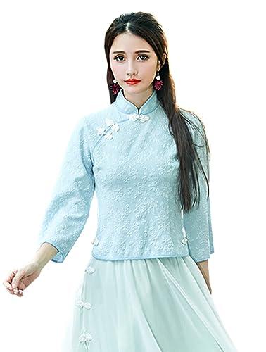 YueLian Mujeres La Blusa de Tang Estampada Camisa del Verano Diaria La mejora de Cheongsam Camisas