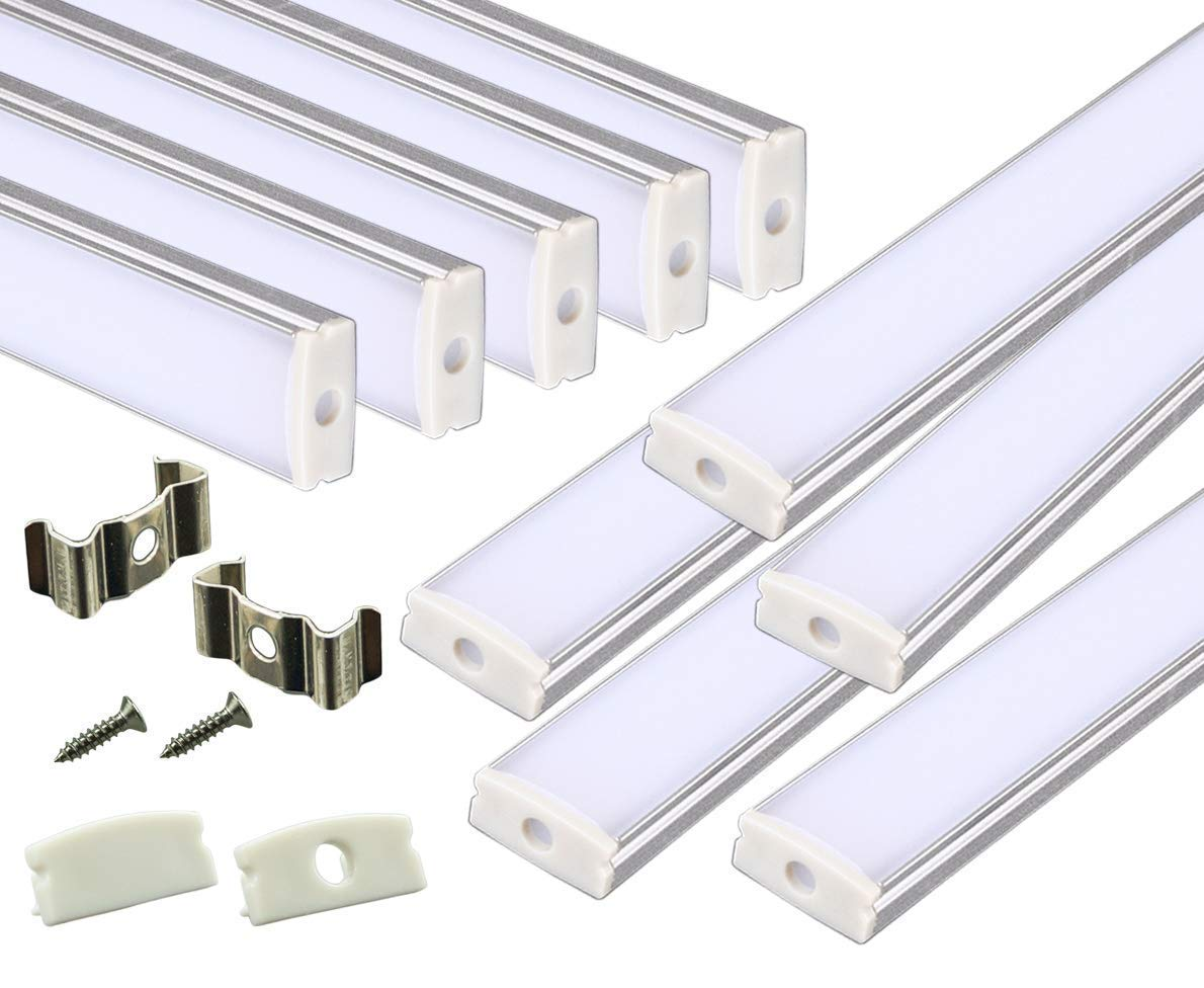Muzata 15-Pack 3.3ft/1Meter U Shape LED Aluminum Channel System with Cover, End Caps and Mounting Clips, Aluminum Profile for Strip Lights Diffuser Segments, 9x17mm