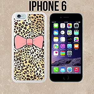 Pretty Bow and Cheetah Print Custom made Case/Cover/Skin for iPhone 6 - White - Rubber Case (Ships from CA)