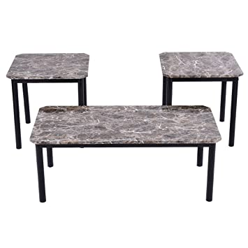 Tangkula 3 Piece Marble Look Top Coffee And Ende Table Set Living Room Furniture  Decor
