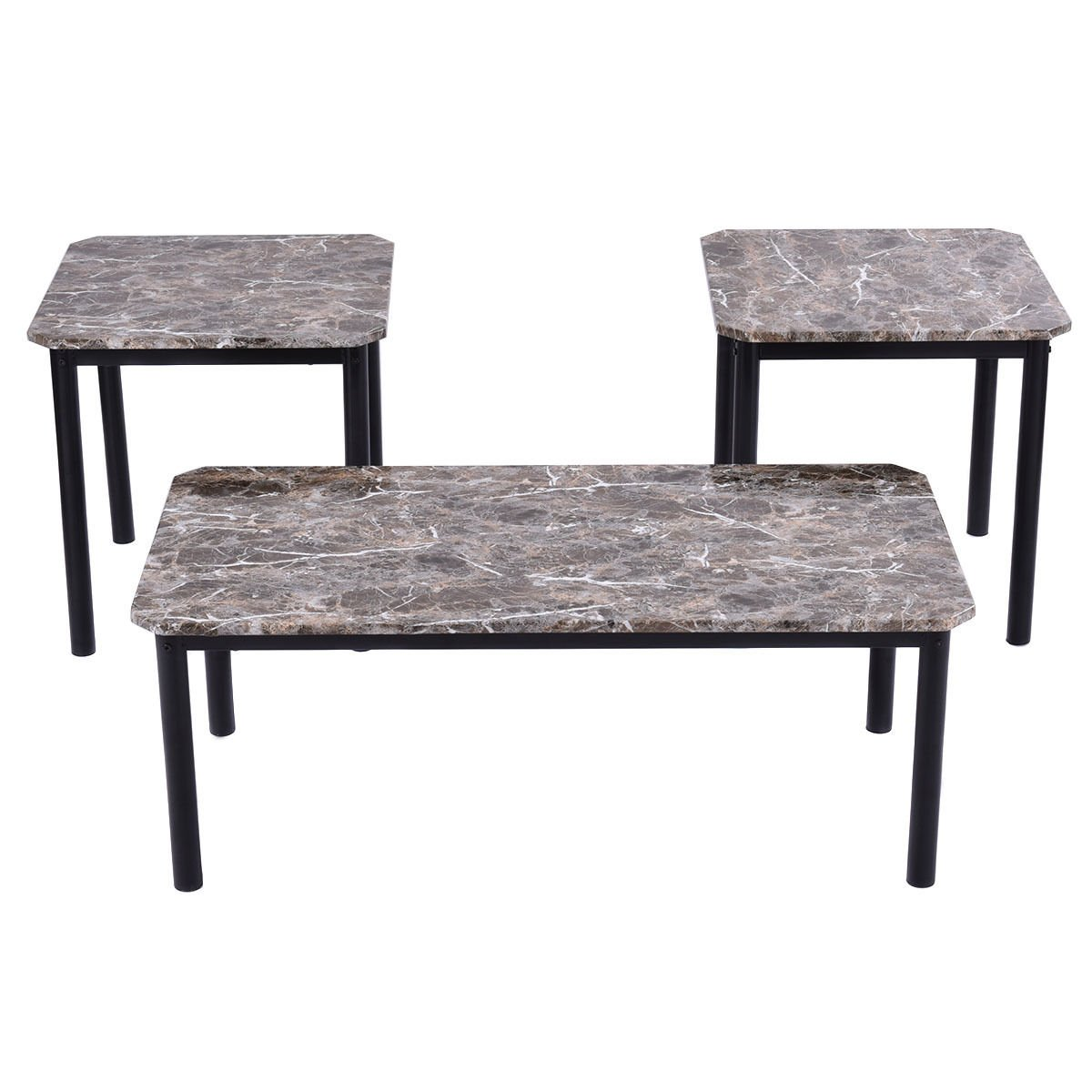 Tangkula 3 Piece Marble-Look Top Coffee and Ende Table set Living Room Furniture Decor