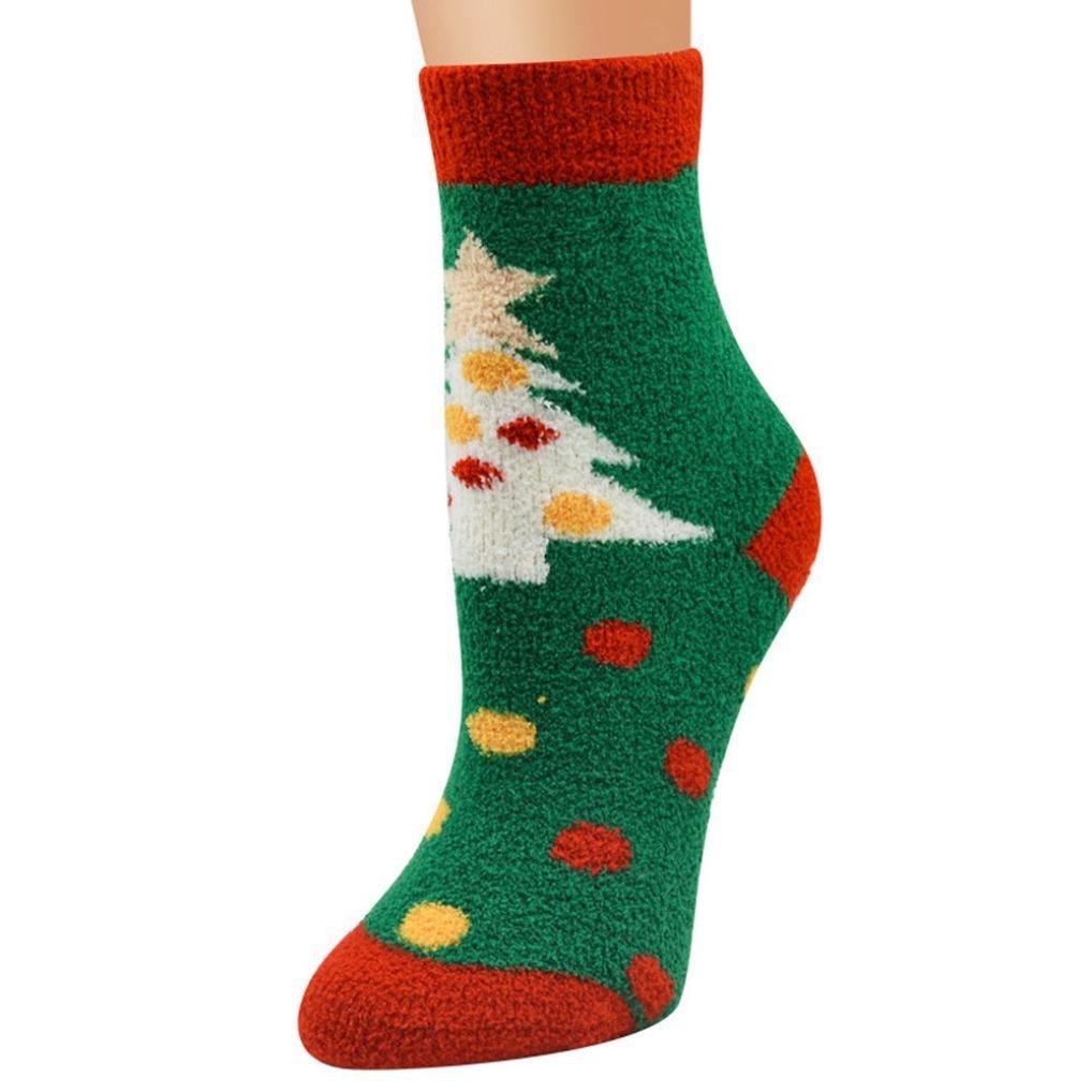 Vovotrade®® Calzini Natalizi Unisex Caldo corto traspirante morbido casuale di velluto Santa Snowman Vovotrade 12