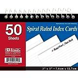"""BAZIC 50 Ct. Spiral Bound 3"""" X 5"""" Ruled White Index Card"""