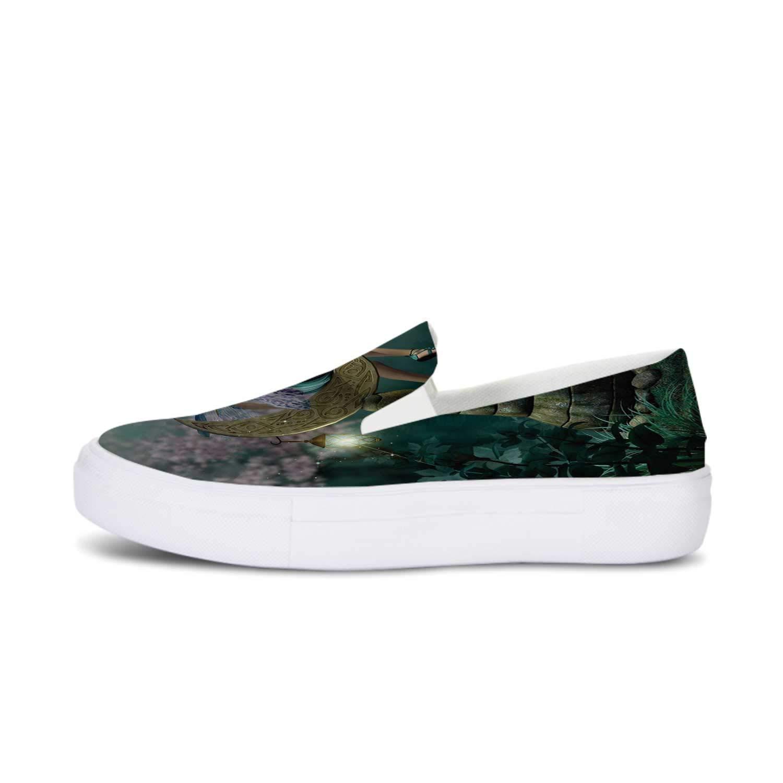 Geometric Canvas Slip On Shoes,Checked Rhombus Classic Diamond Line Pattern Crosswise Tile Design Artwork for Women,US 5