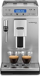 De'Longhi ETAM 29.620.SB, Autentica Plus - Cafetera Superautomática Espresso y Cappuccino, Depósito de Agua 1.4 l, Pantalla LCD y Panel Táctil, Acero Inoxidable, Molinillo Silencioso, 1450 W, Plata