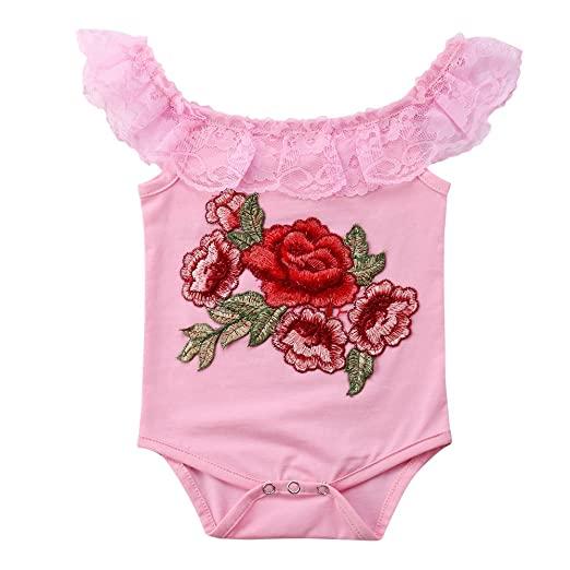 614c610ea471 Amazon.com  Pudcoco Newborn Baby Girls Round Ruffle Lace Collar Rose ...