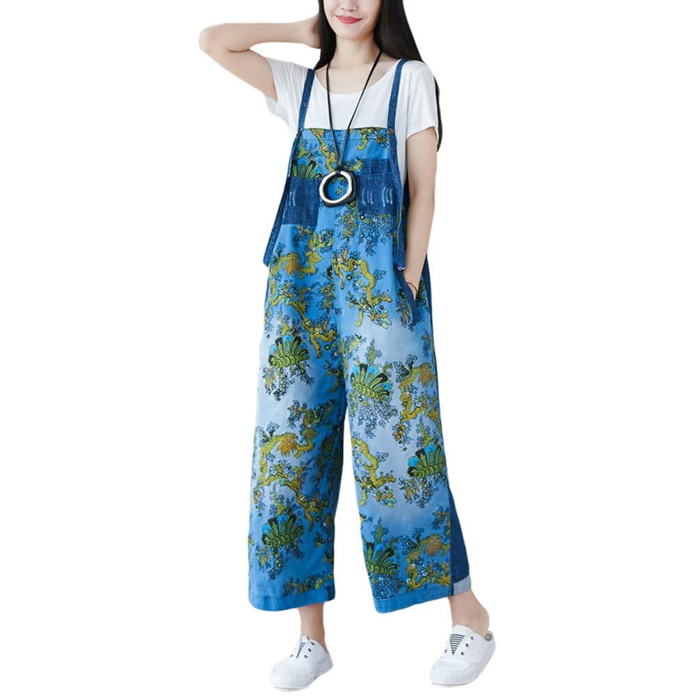 Yuandian Mujer Petos De Pantalon Vaquero Casual Baggy Pierna Ancha Mono Jeans Denim Ancho Mono Pantalon Se/ñora Boyfriend Monos Tejanos