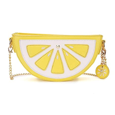 Womens Crossbody embrague bolso hombro mensaje bolsa de dibujos animados bolso bandolera amarillo lemon