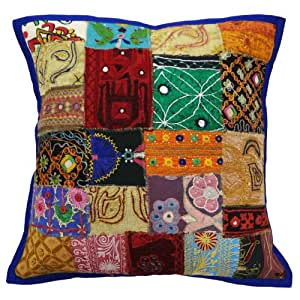 Decorative Patchwork Pillowcase 50 Cm Kutch Embroidered Cushion Cover Throw Indian Gift Art