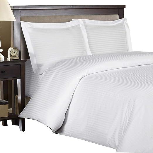 1 Duvet Cover + 2 Pillow Shams -3 Piece 500 Thread Count 100/% Cotton Stripe Best Hotel Luxury Bedding 3-Piece Duvet Cover Set Zipper Closure-Full//Queen Silky Sateen Weave 90x92 Soft