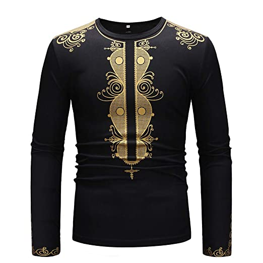 93a3ec7c70a593 YOcheerful Men's Luxury African Top, Long Sleeve Dashiki Shirt Classic Top  African Party Blouse Holiday