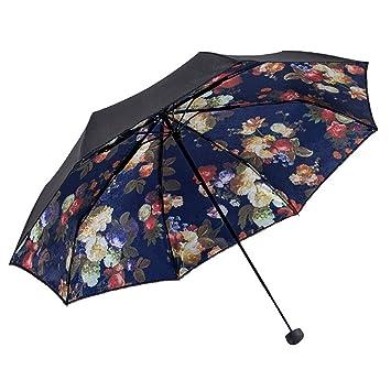 paraguas Paraguas súper protector solar solar UV sombra paraguas paraguas plegable mujer soleado sombrilla (Color