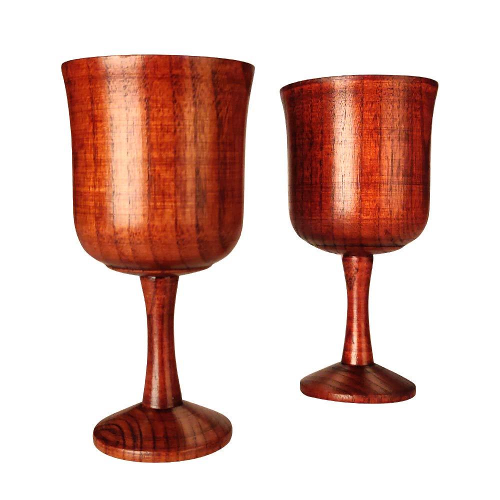 ノベルティ木製ワイングラス ファンシーな小さな水ゴブレット 4オンス 装飾ワインカップ 2個セット B07MYG21ZL