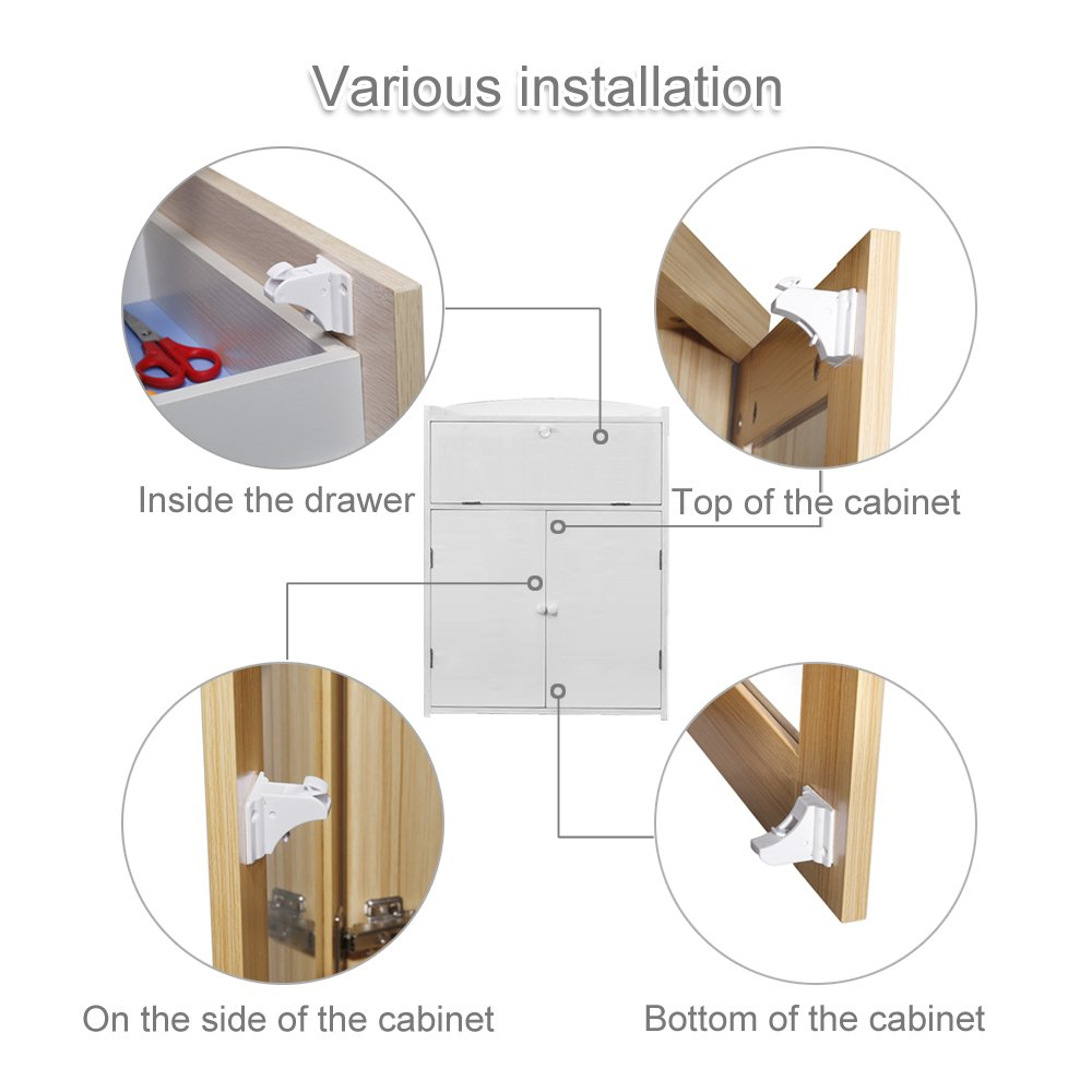Magnetic Baby Safety Locks of Kikoocare for Cabinets & Drawers,8 Lock + 2 Key for Baby Proofing Cabinets by Kikoocare (Image #3)