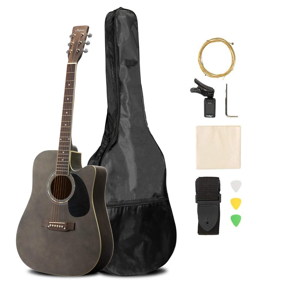 ARTALL 41 Inch Handmade Solid Wood Acoustic Cutaway Guitar Beginner Kit with Tuner, Strings, Picks, Strap, Matte Mocha
