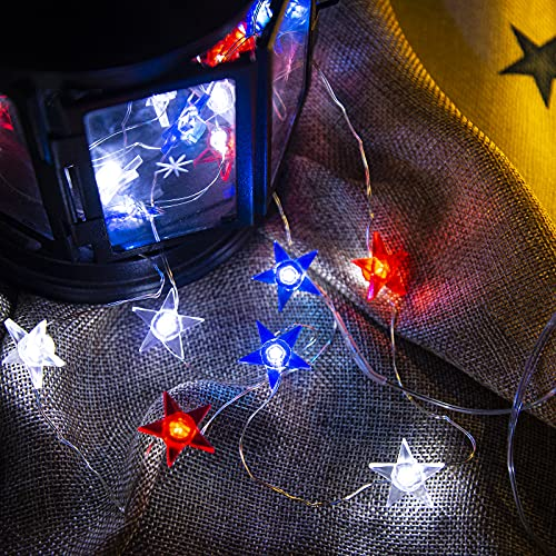 LOLStar 4th of July American Star String Lights Red White Blue Fairy String Lights Waterproof Battery Operated Patriotic Decor for Independence Day,Memorial Day,Flag Day Patriotic Party