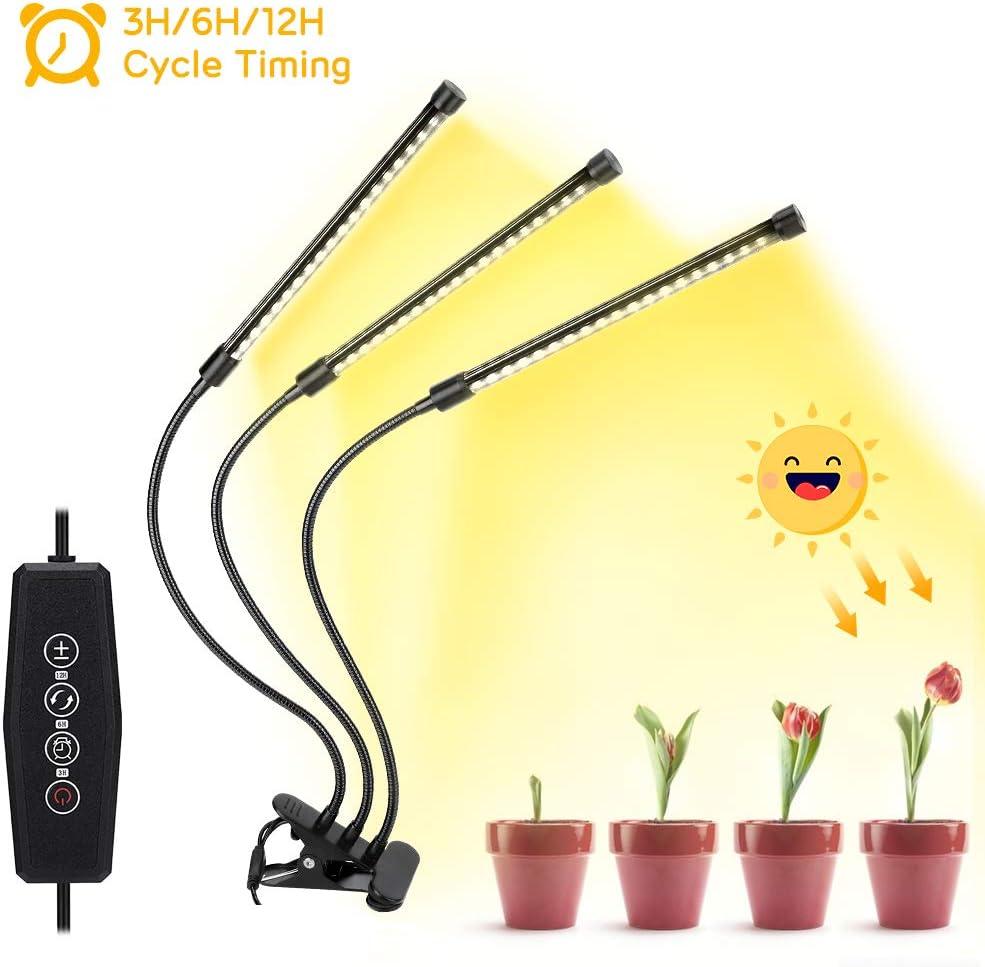 Haofy Lámpara de Crecimiento, 57 LED Cultivo 30W Luz de Plantas Lámpara para Plantas, Rotación de 360° y Función de Temporizador y Apagado Automático y Función de Inicio de Reserva