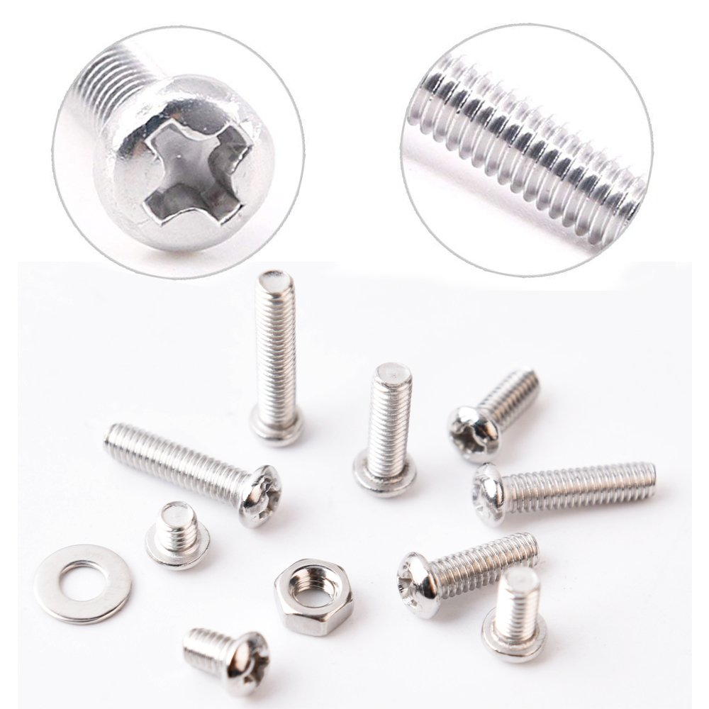M4 Stainless Steel Phillips Pan Head Screws Set Bolts Nuts Lock Flat Washers 810 Pcs Assortment Kit with Storage Box by VIGRUE (Image #6)