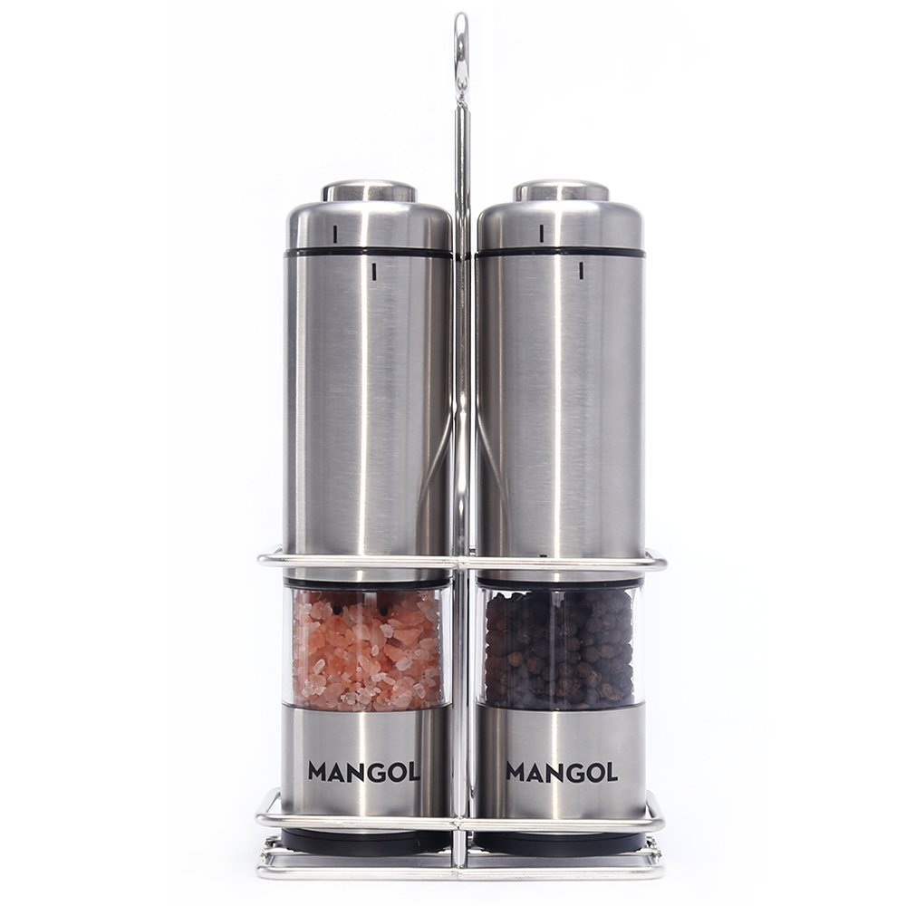 Mangol Electric Salt & Pepper Grinder Shaker Mill Set With Stand   Battery Operated   Adjustable Ceramic Coarseness Durable Stainless Steel Mills With Clear Window   For Himalayan & Sea Salt (2 pack)