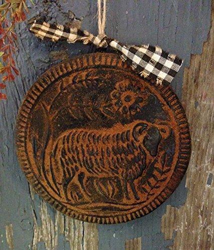 Blackened Beeswax American Folk Art Suffolk Sheep Ornament Cinnamon Scented with Saigon Cinnamon Rub