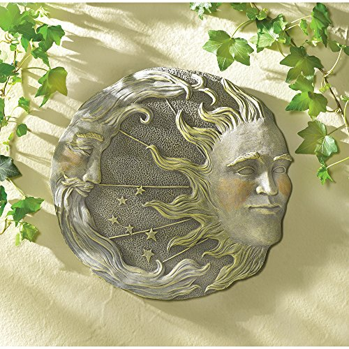 Celestial Outdoor Garden Wall Art Plaque Sun Moon Face Stepping Stone Path Wicca