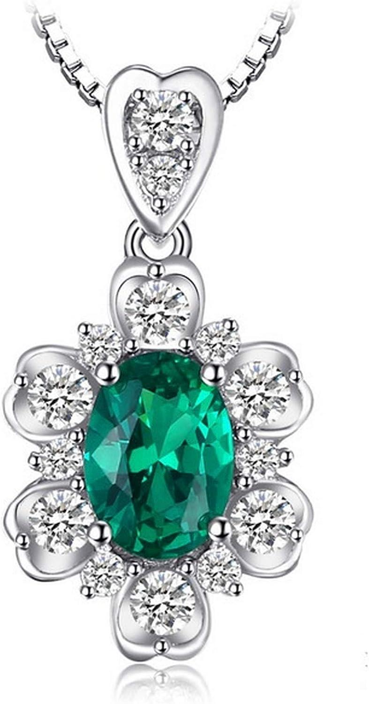 MMC Womens Elegant Green Gem 1.2ct Oval Emerald Silver Pendants Necklaces
