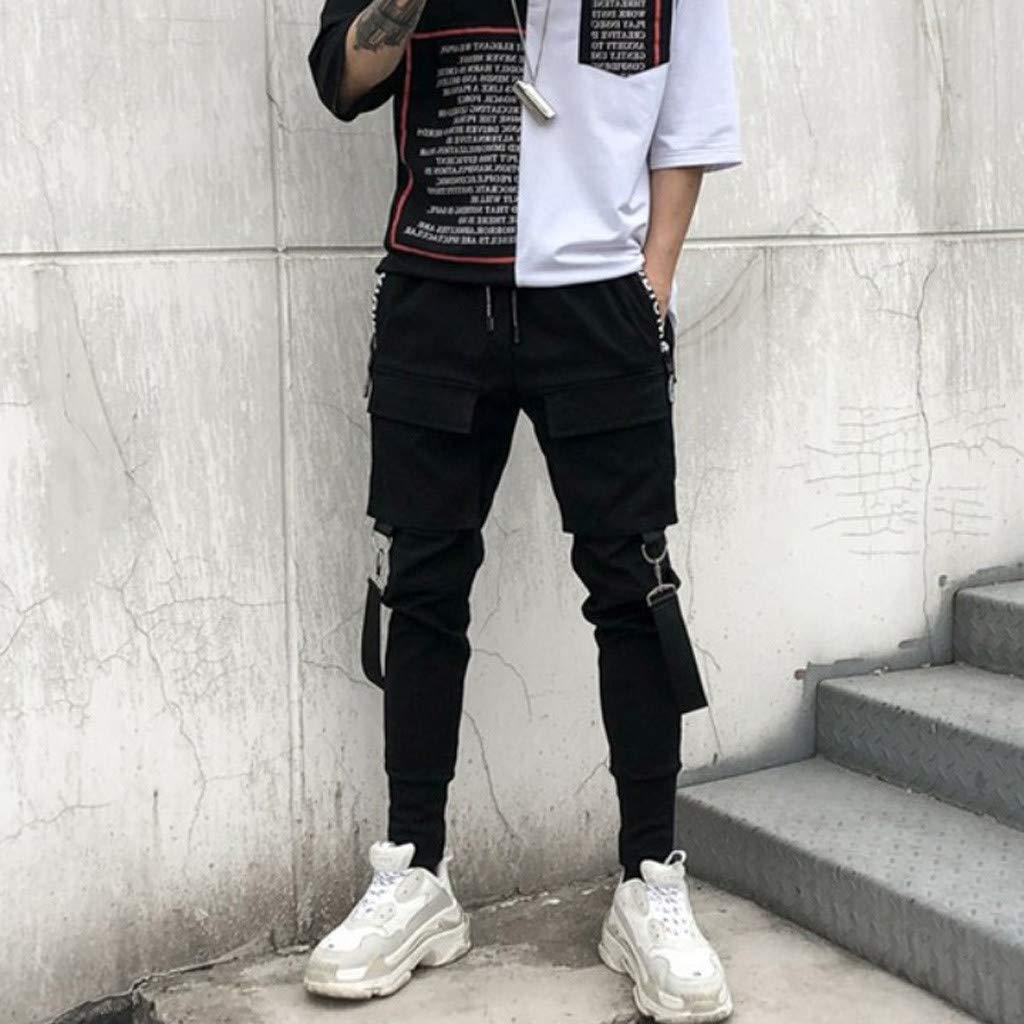 Pantaloni da Lavoro Uomo Side Pockets Pencil Pants Mens Hip Hop Patchwork Ripped Sweatpants Pantaloni Uomo Sportivo Fitness