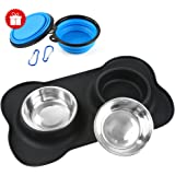 Dog Bowls 4 Packs Non-Skid Silicone Dog Bowl Mat ,Honfei 2 Stainless Steel Dog Bowl and 2 Collapsible Dog Cat Travel Pet Bowl with No Spill Silicone Mat for Dogs Cats and Pets