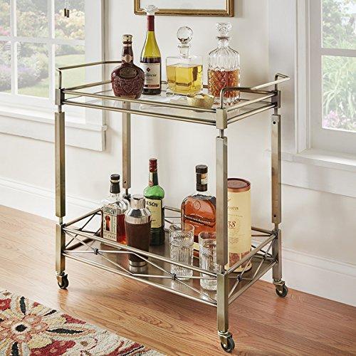 Metropolitan Antique Brass Metal Mobile Bar Cart with Glass Top (Cart Bar Brass)