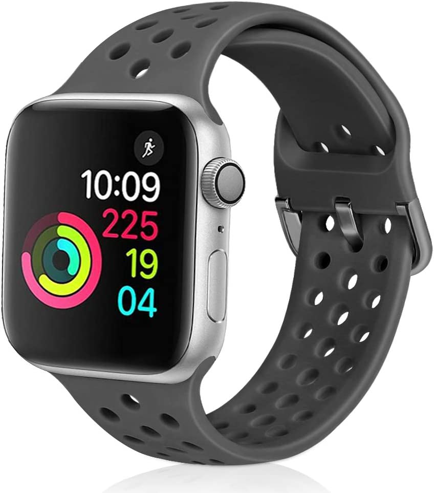 Relting Compatible with Apple Watch Band 42mm 44mm, Soft Silicone Sport Breathable Replacement Strap Compatible for iWatch Series 6, 5, 4, 3, 2, 1 for Women and Men (dark gray, 42mm/44mm)