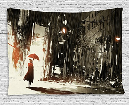 Ambesonne Fantasy Tapestry, Woman with Umbrella in Rain Old Town Ruins Apocalypse Superhero Action Desgin, Wide Wall Hanging for Bedroom Living Room Dorm, 80